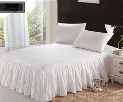 "1 Piece 800tc Egyptian Cotton Bottom Ruffle Bed Spread 20"" d"