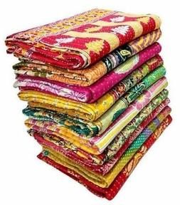 10 Pieces Mix Lot of Vintage Kantha Quilts Cotton Bed Cover