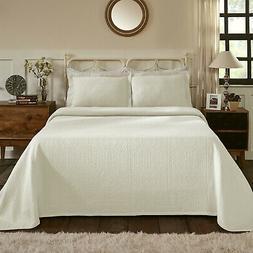 100% Cotton Fleur De Lis Matelasse Queen Bedspread, Ivory