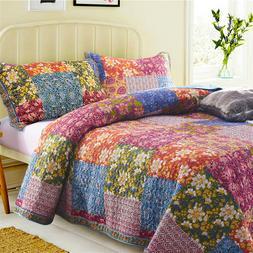 FAMVOTAR 100% Cotton Patchwork Quilted <font><b>Bedspread</b