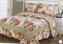 100% Cotton Quilt Bedspread Coverlet King Size 3Pcs Reversib