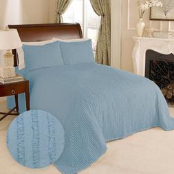 100% Cotton Tufted Chenille Stripe Bedspread Bedding Twin Fu