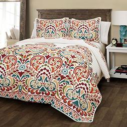 Lush Decor Clara Quilt 3 Piece Reversible Bedding Set King T