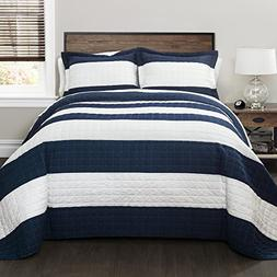 Lush Decor 16T000415 Stripe 2Piece Quilt Set, Twin, Navy/Whi