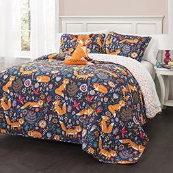Lush Decor Pixie Fox Quilt Reversible 4 Piece Bedding Set-Na
