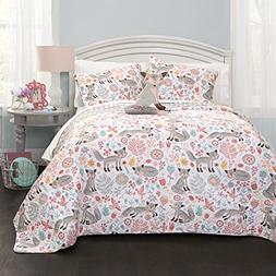 Lush Decor Pixie Fox Quilt Reversible 3 Piece Bedding Set -