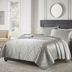 Luxury 2/3 Piece Satin Silky Super Soft Bedspread Quilt Cove