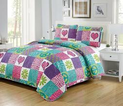 Fancy Linen 2pc Twin Bedspread Set Pink Purple Teal Heart Fl