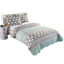 2pc Kids Comforter Quilt Bedspread Set Throw Blanket for Gir