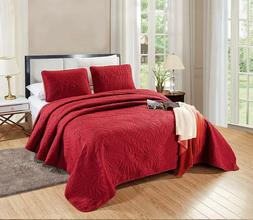 3 Pc CAL King Catena Quilt Set Burgundy Red Microfiber Bedsp