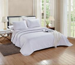 3 Pc CAL KING Size Aria Quilt Set Solid White Microfiber Cov
