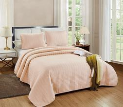 3 Pc CAL King Catena Quilt Set Blush Pink Microfiber Coverle