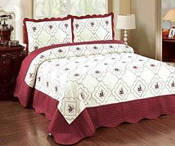 3 Pcs Polyester Bedspread Quilted High Quality Bed Cover Emb
