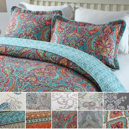 3-Piece 100% Cotton Bedspread Reversible Coverlet Bed Cover