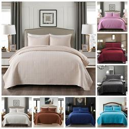 3 Piece Bedspread Coverlet Set  Comforter  Reversible Soft B