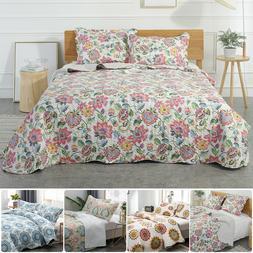 3-Piece Bedspread Coverlet Set Floral Quilt Microfiber Ultra