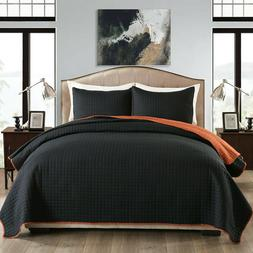3 Piece Bedspreads Reversible Plaid Design Brushed Microfibe