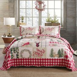 3 Piece Christmas Quilt Rustic Western Lodge Cabin Bedspread