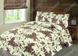 3 Piece Cowhide Cow Print Quilt Rustic Western Bedspread Com