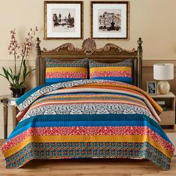 3-Piece Exotic Boho Quilt Set Bedspread/Coverlet/Bed Cover R