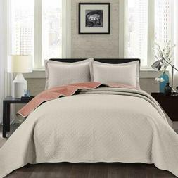 3-piece Ivory Salmon Pinsonic Quilted Reversible Bedspread S