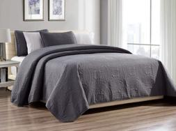 3-Piece King Gray Linen Plus Collection Oversize Bedspread C