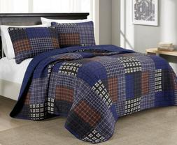 Chezmoi Collection 3-Piece Multi-Striped Reversible Bedsprea