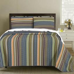 Chezmoi Collection 3-Piece Multi-Striped Reversible Cotton B