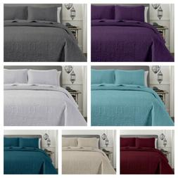 Chezmoi Collection 3-piece Pinsonic Quilted Bedspread Set Ov
