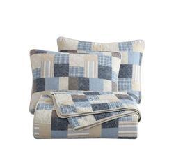 Chezmoi Collection 3-Piece Plaid Patchwork 100% Cotton Quilt