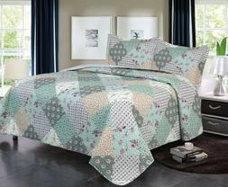 3 Piece Queen / King Quilt Plaid Patchwork Bedspread Bedding