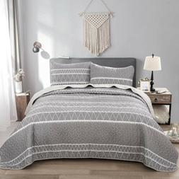 3 Piece Grey Bedspread Quilted Blanket 2 Matching Pillow Sha