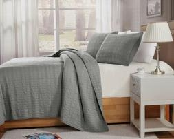 3-Piece Smoke Gray Geometric Stitch Washed Cotton Quilt Beds