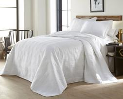 Chezmoi Collection 3-Piece White Oversized Quilted Bedspread