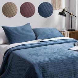 3 Pieces Sherpa Flannel Fleece Bedding Cozy Quilt Coverlet B