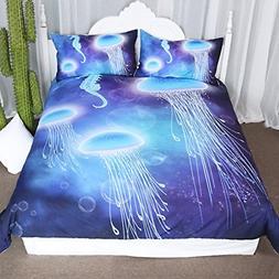Arightex 3D Ocean Bedding Blue Jellyfish Duvet Cover Underwa