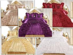 3pc Ahlam Real 3D Burgundy Comforter Set Bedspread Flower Ru