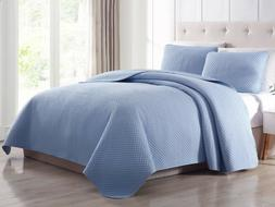 3pc Bedspread Quilted Set Elliott Diamond Stitched Coverlet