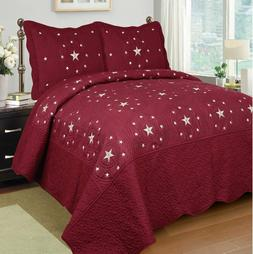 Fancy Linen 3pc Burgundy Star Bedspread Quilt Set Embroidery