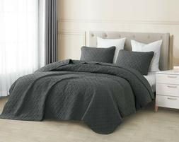3pc Charcoal Gray Quilted Coverlet Set Aspect Bedspread Ston