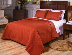 Fancy Linen 3pc King and Queen Quilted Bedspread Embroidery