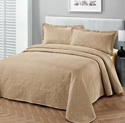 Linen Plus 3pc King/Cal King Oversized Luxury Bedspread Cove