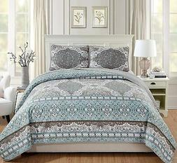 3pc king california king quilted coverlet bedspread