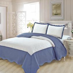 Fancy Linen 3pc King Luxury Bedspread Embossed Solid White/B