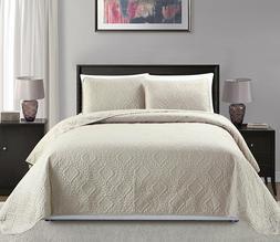 Fancy Linen 3pc Oversize Diamond Embossed Bedspread Assorted
