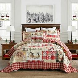3Pc Quilt Bedspread Sets Bedding Coverlet Bedroom Floral Que