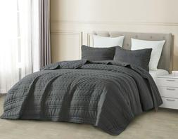 3pc Quilted Coverlet Set Charcoal Gray Stonish Bedspread Sto