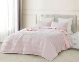 3pc Quilted Coverlet Set Pink Stonish Bedspread Stone-Washed