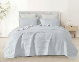 3pc Quilted Coverlet Set Stonish Bedspread Stone-Washed, Bed