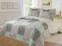 ALL FOR YOU 3pc Reversible Bedspread, Coverlet,Quilt Set- Pa